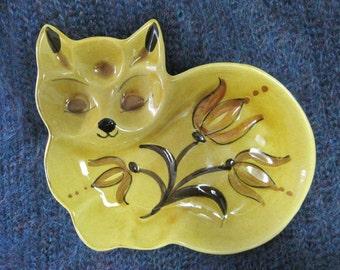 Cat Decorative Dish, Ceramic Pottery, Los Angeles Potteries, Hand Decorated, 83-C, Coffee Table Decor, Bookshelf Decor, Vintage