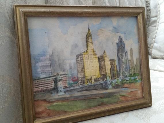 Downtown Chicago @ 1970's - Original Watercolor Painting   Michigan Avenue Bridge - Tribune Tower, Wrigley Building + Old Sun Times