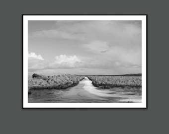 Nordic landscape, Black and White photo, Art Prints, Landscape print, Iceland, River, Sky, Living room art, Wall Art, Gift for her, minimal