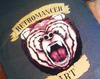 Limited edition Retromancer art Original Grizzly Bear T-shirt Independently designed and printed in the UK