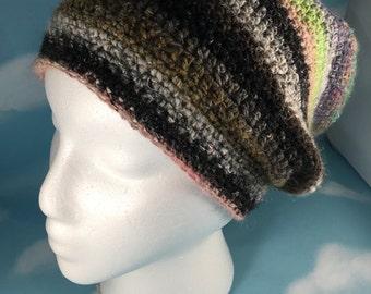 Women's Crochet Slouch Hat, Beanie, Women's Winter Hat, Crochet Boho Beanie, Handmade Teen Girl Slouch with Stripes