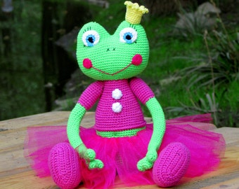 The frog princess, Frog stuffed doll, ballerina doll, Stuffed animal, Soft toys, nature stuffed toy, toddler girl gift