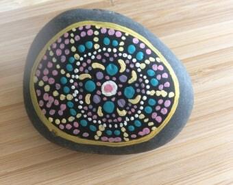 Hand Painted Mandala Stones Rocks Blue Pink