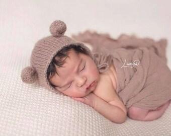 Tan Newborn Stuffed Bear & Bonnet, Newborn Stuffed Animal, Stuffed Toy, Newborn Hat, Newborn Photography Prop