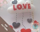 Felt Pattern-Cloud Valentine's Ornament-Heart Cloud-Felt Pattern- Felt PDF pattern-Valentine patterns