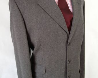 Vintage 1970's single breasted Grey Flannel Suit made from pure wool fabric by Marzotto