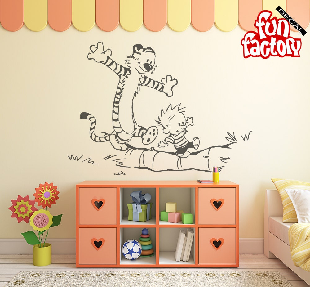 calvin hobbes wall decal kids boy girl nursery room sticker. Black Bedroom Furniture Sets. Home Design Ideas
