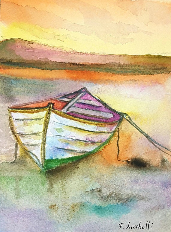 Sunset,boat on water,watercolor,seascape,ooak,15x20 cm./6x8 inc.,gift idea,wall art,home decoration,living,birthday, wedding,anniversary.