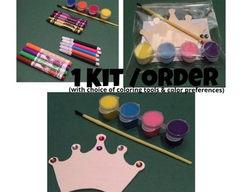 Wooden Magnet Crown Painting or Coloring Kit Craft Activity for Kids (makes 1) Princess Party Favors - Crown Craft - Princess Birthday Favor