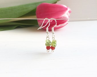Peridot Earrings, Carnelian Earrings, Natural Peridot, Clip On Earrings, August Birthstone, Gift For Her, Mothers Day Gift, Small Earrings