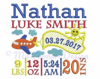 Birth Announcement Template Embroidery Design - Baby Boy Embroidery - Birth Template - INSTANT DOWNLOAD - Machine embroidery design - 3 size
