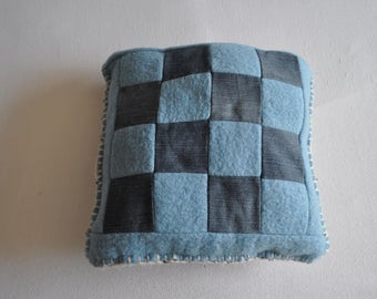 wool blanket pillow, blanket patchwork pillow, vintage blanket pillow, blue jeans color , knitted cushions, vintage pillow, blanket cushion