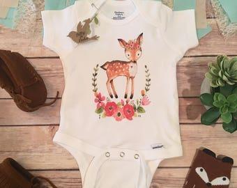 Deer Onesie®, Baby Girl Clothes, Boho Baby Clothes, Baby Shower Gift, Deer Baby Onesie, Cute Onesies, Wreath Onesie, Boho Baby Bodysuit, Doe