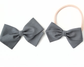 Gray Hair Bow - Hair Bows for Girls - Hair Clips or Baby Headbands