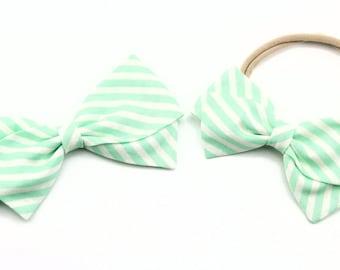 Baby Girl, Toddler, Fabric Bows, Newborn, Hand tied bow- Aqua Stripe