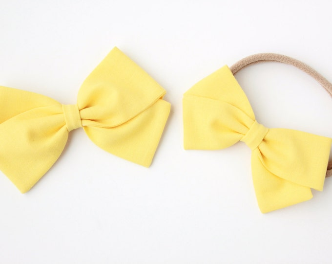 Yellow Hair Bow - Nylon Headbands and Hair Clips For Girls