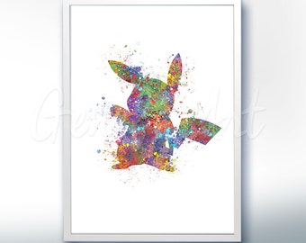 Pokemon Pikachu Pokemon Go Watercolor Art - Watercolor Painting - Watercolor Poster - Wall Decor - Home Decor - House Warming Gift