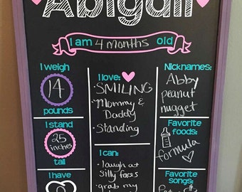 Monthly Milestone Chalkboard, Baby Milestone Chalkboard, Reusable Chalkboard, First Birthday Chalkboard, Baby Photo Prop