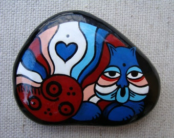 Mara Mea-hand painted stone-lucky stone-birthstone-ethnic stone