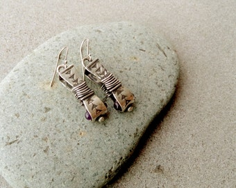Sterling silver oxidized earrings with natural amethyst gemstone, artisan, armenian, silversmith, boho, gipsy, violet, one of a kind