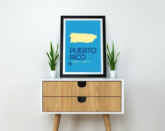 Puerto Rico Map Digital Download & Print - Art Print, Minimalist Travel Poster, Puerto Rico Caribbean Island Poster for Travellers