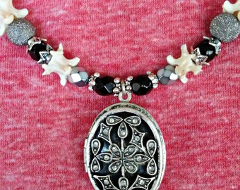 Snake vertebrae black and silver beaded locket necklace/Goth/Punk