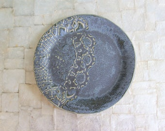 Handmade ceramic lace side plate | Handbuilt stoneware dessert plate in vintage blue