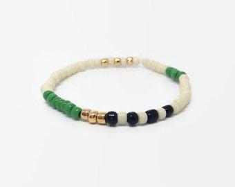 Greenery bracelet, Green slip-on bracelet, Green Layer Bracelet, green gold bracelet, Elastic Green Bracelet, small beaded bracelet