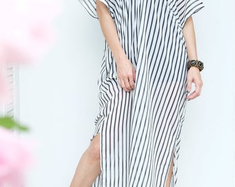Black White Strip Chiffon Beach Dress Swimsuit Bikini Cover Up | Casual Maxi Short Sleeve Dress | Spring/Summer Dress