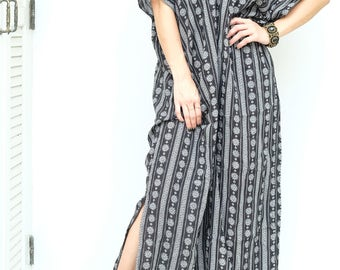 Black White Flower Pattern Spun  (Soft cotton)  Beach Dress Swimsuit Bikini Cover Up   Casual Maxi Short Sleeve Dress   Spring/Summer Dress