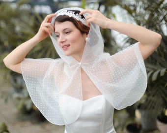 Unique polka-dot boho bridal hooded cover-up. Winter wedding caplet. White tulle bridal cape with silk thread trim. White lace bridal cape.
