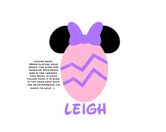 Easter Egg Minnie  or Mickey Decal Personalized Mickey Mouse Bow Day Minnie Easter Egg Hunt Disney Iron On Decal Vinyl for Shirt 141