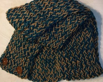 Teal and brown scarf