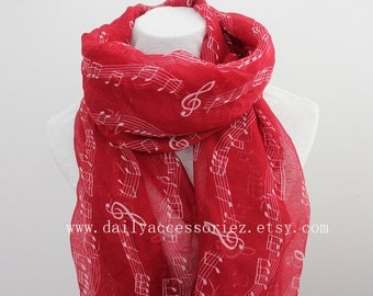 red music scarf, music notes, Music gifts, music sheets, piano shawl, piano gifts, piano teacher gift, panist gift, for her, womens scarves