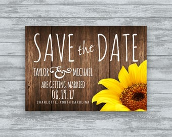 Rustic Wedding Save The Date, Vintage Wedding, Wedding Save the Date, Sunflower Wedding Invite, Floral Save The Date, Sunflower - Printable
