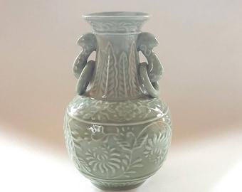 Andrea by Sadek Celadon Vase Loop Handles