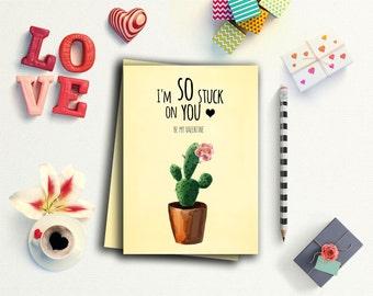 Funny valentines day cards, Cactus valentine, Valentines Day Card, I'm so stuck on you,  Valentines Day print, printable valentine card