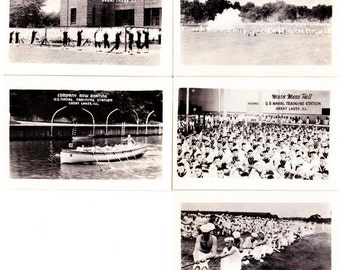 Lot 5 Vintage WWII Military Navy Photos Great Lakes Naval Training Station B&W