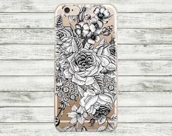 Flowers transparent iPhone Case. iPhone 7 / 7 Plus Case, iPhone 6 / 6s /6s Plus Case, iPhone 5s / 5 / SE Case, Hard plastic or rubber case.