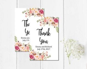 Boho Personalized Wedding Favor Gift Tags, Printable Custom Floral Wedding Favor Tags, Peonies Favor Tags, Floral Thank You, Download, 110-W