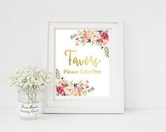 Gold Boho Floral Favors Sign, Floral Boho Favors Wedding Sign, Peonies Boho Sign, Floral Party Favors Sign, Printable Instant Download 110-G