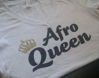 Afro Queen V-neck Shirt