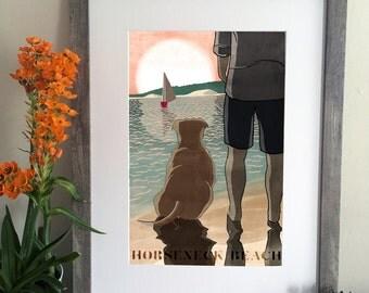 Man's Best Friend Illustration - Horseneck Beach - Dog Portrait