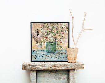 Original painting Flowers, acrylic on canvas, realism, modern art, floral decor, Botanical illustration