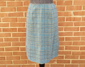 Vintage Wool Tweed Pencil Skirt - 1950s 1960s 1970s Retro Womens Ladies Skirt - Aqua Teal Blue Tan Brown - Size Small - Autumn Fall Winter