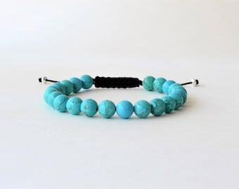 Turquoise bracelet - Man gemstones beads bracelet