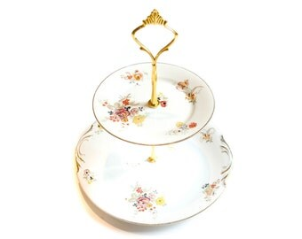 Cake Stand two floors - French porcelain - Vintage - Bouquet of flowers