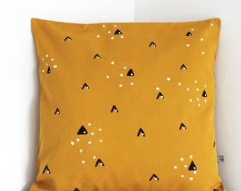 Cushion cover Mountains Mustard Yellow Snow Winter pillow cover FREE UK shipping  throw pillow Nursery decor cover Scandi
