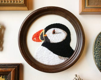 Framed Puffin Embroidery Bird