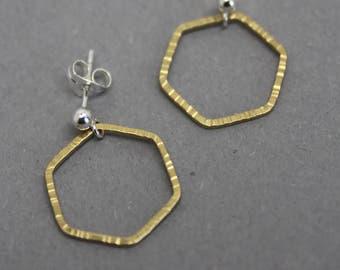 Brass hexagon stud earrings, gold hexagon studs, medium hexagon earrings, silver brass hexagon studs, geometric studs,hammered hexagon studs